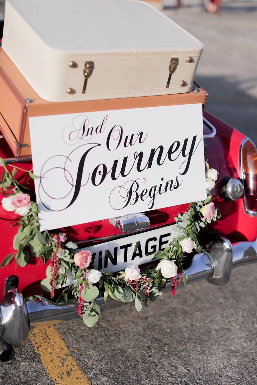 Wedding decorations car  Vintage Bride in a Classic Ride Styled Portraits  Car signs
