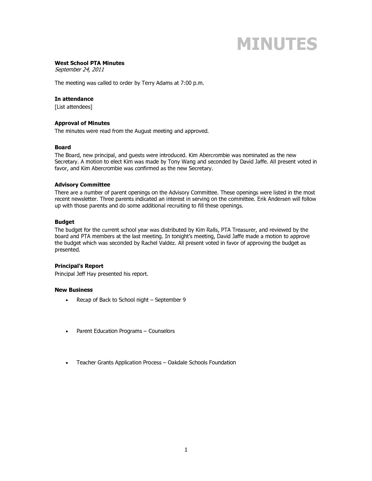 pto minutes template | Pta Minutes Template - Invitation Templates ...