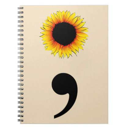 Sunflower Semicolon Notebook | Zazzle.com