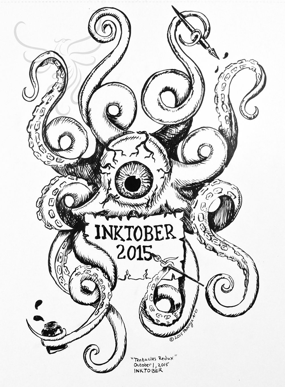 InkTober Day 1: Tentacles Redux #InkTober #InkTober2015