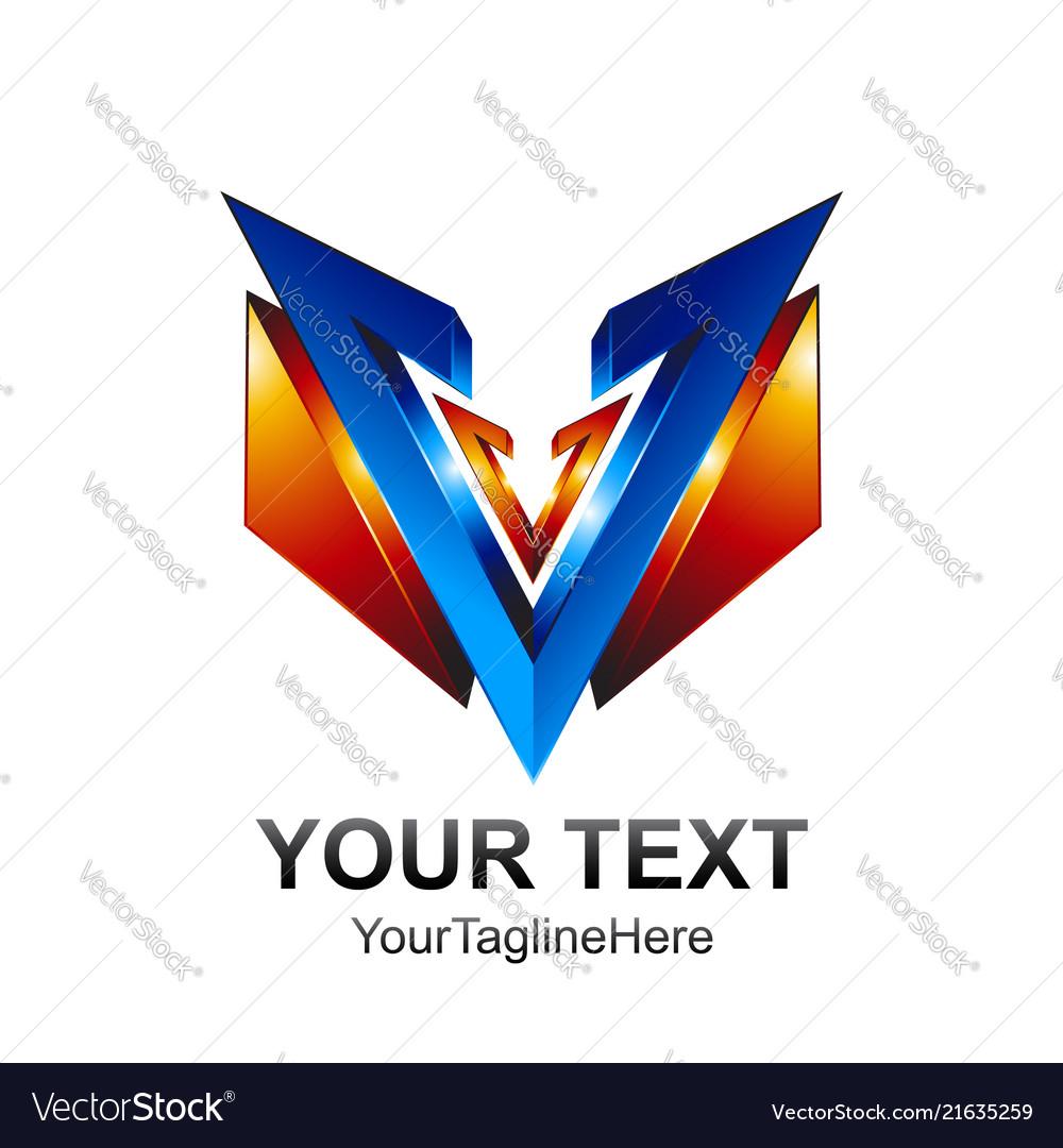 Initial Letter V Logo Template Colored Blue Vector Image On Vectorstock Logo Templates Initial Letters Letter V