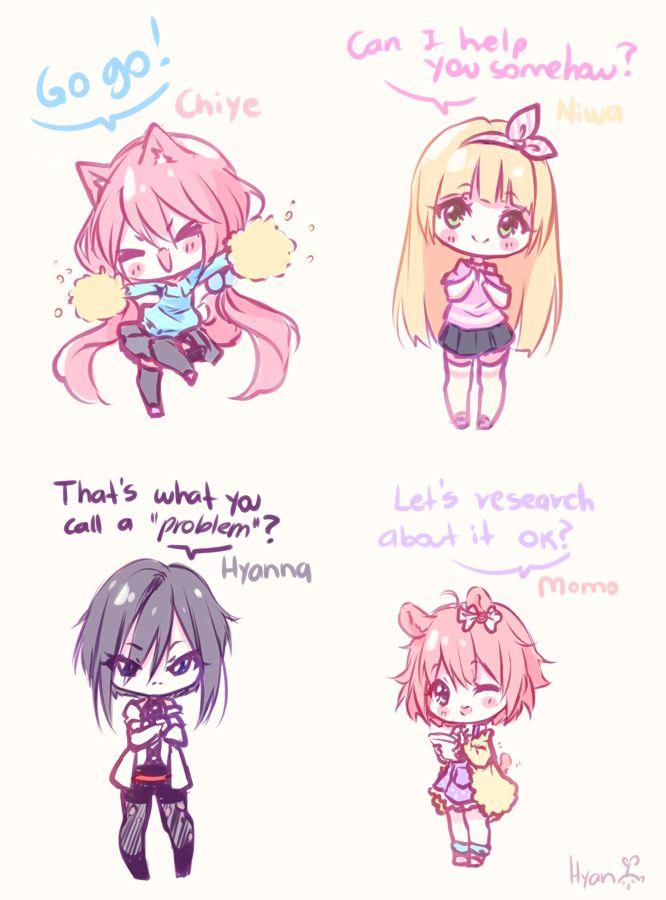 Supportive Girls By Hyan Doodles Deviantart Com On Deviantart Cute Anime Chibi Anime Chibi Kawaii Chibi