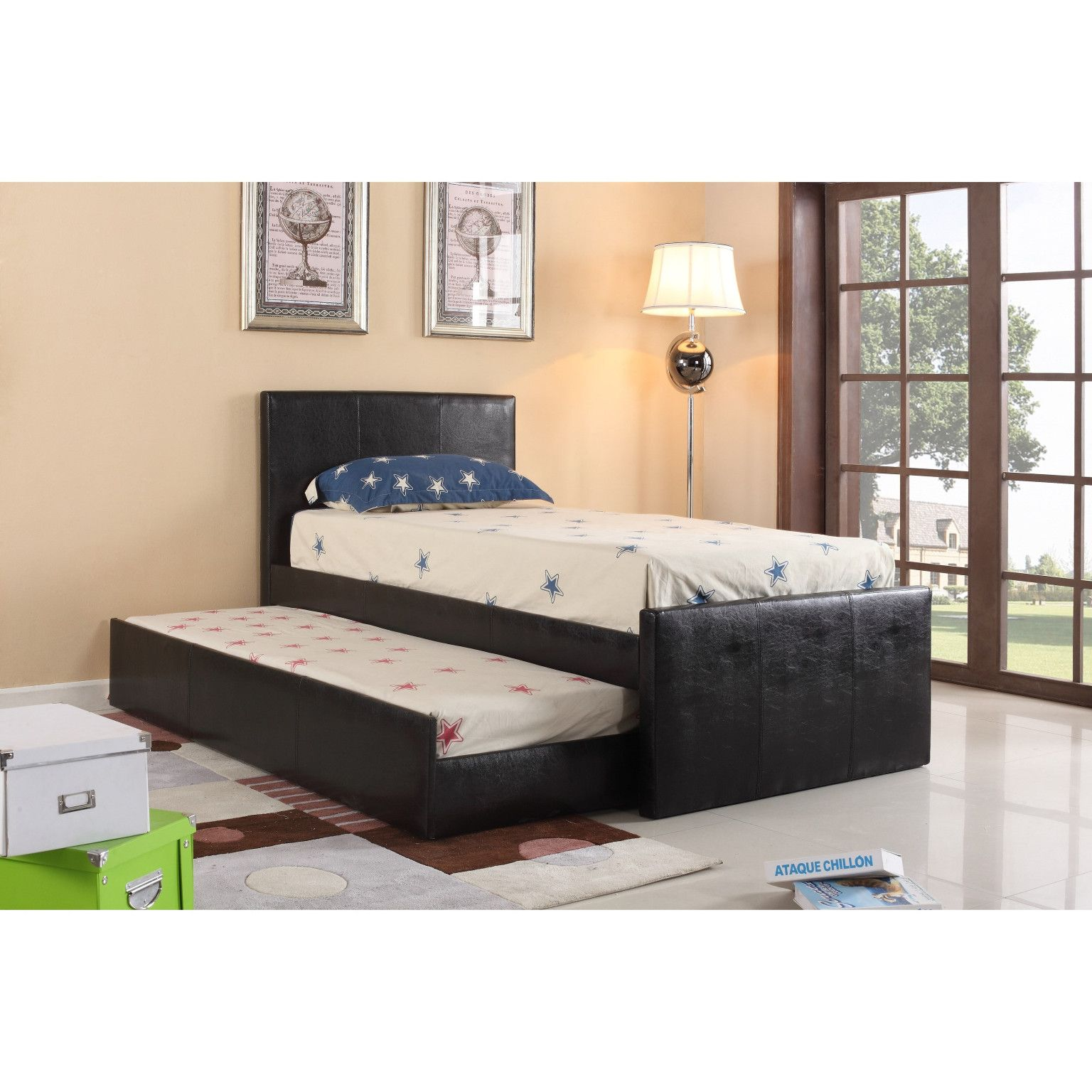 leo padded faux leather twin size trundle bed 249 00 74 l x 42 w x