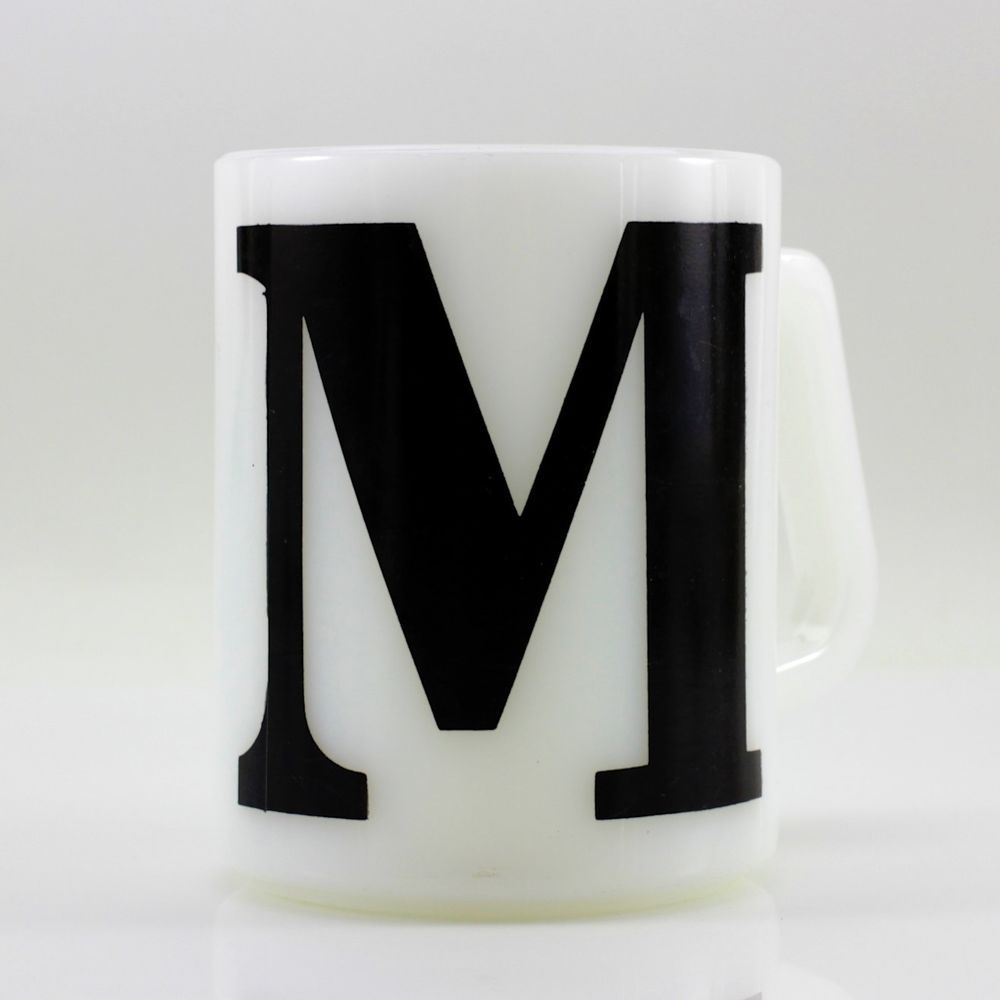 Vtg Federal Milk Glass Coffee Tea Mug W Block Letter M Initial