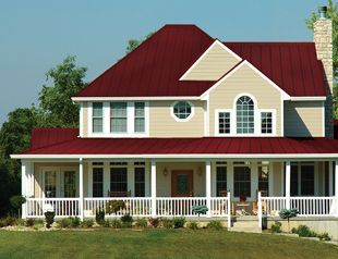 Burgundy Pro Snap And Ivory Siding Exterior House Colors House Roof Residential Steel Roofing