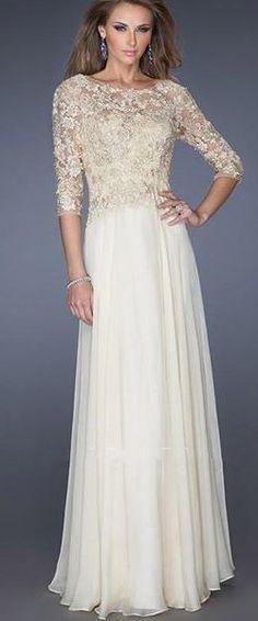 29a59f4b720 3 4 Length Sleeves Long Chiffon Lace Dress