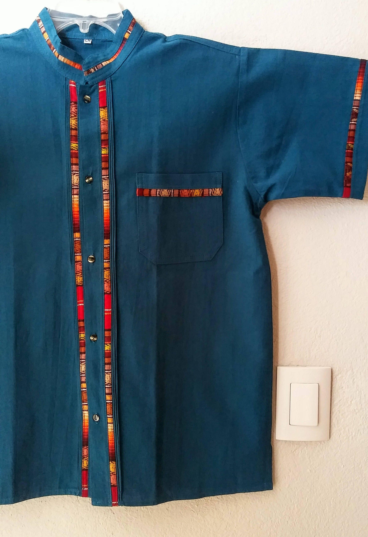 bb5e06ba73c7b1 Mexican shirt men, Blue mexican Guayabera shirt, Mexican gentleman shirt,  Mexican man shirt, Mexico men's shirt, mexican men clothing by MXArtsCrafts  on ...