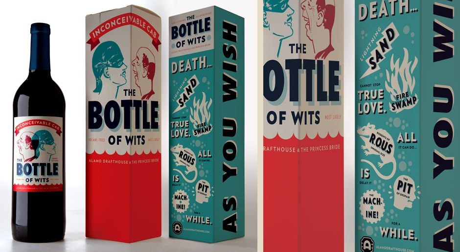 We love this Princess Bride Bottle of Wits Wine Packaging! Who is right and who is dead!