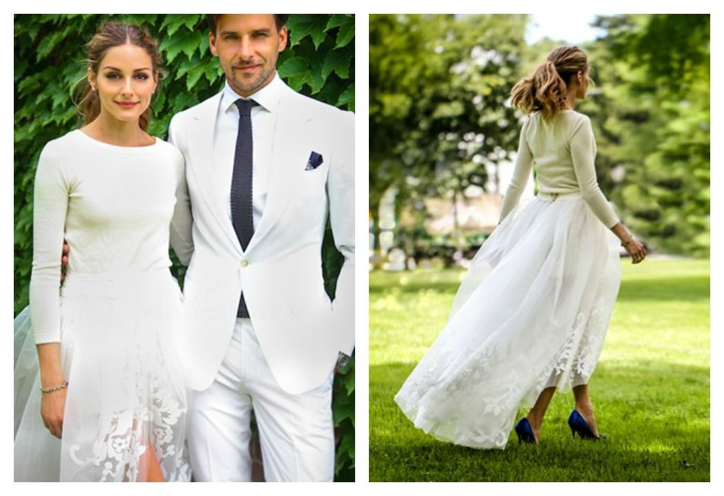 Olivia Palermo Listen Up Brides To Be If It Can Swap A Traditional Bridal Gown For Tulle Skirt And Sweater On Her Wedding