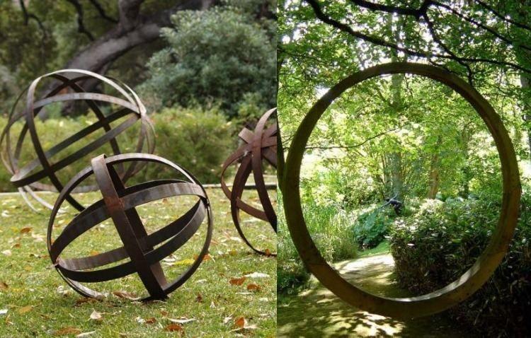 sculpture contemporaine jardin sculpture de jardin contemporaine en acier Corten de forme ronde
