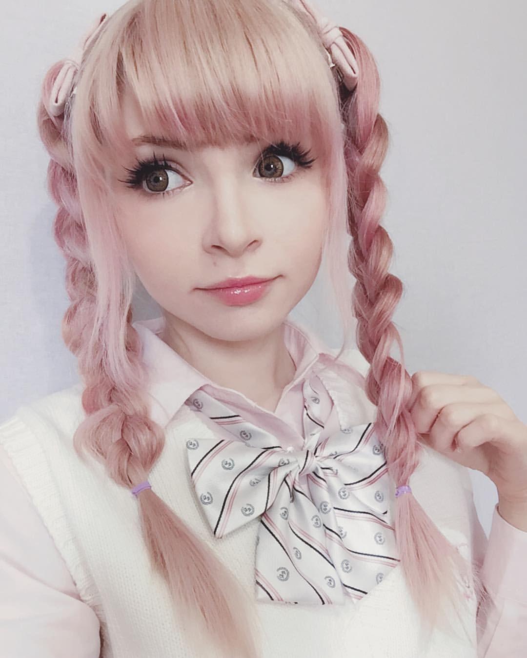 "peachmilky: "" Happy Saturday! #peachmilky #pinkhair # ..."