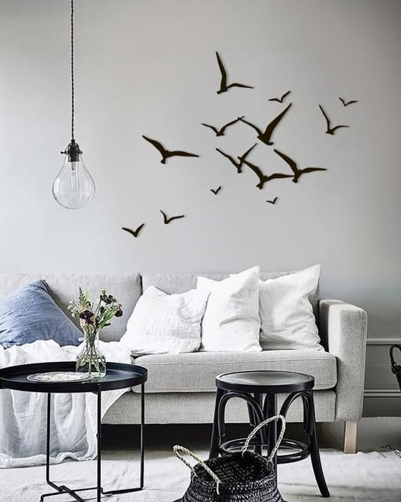 Metal Wall Art Flying Birds Home Decor Interior Sign Steel Office