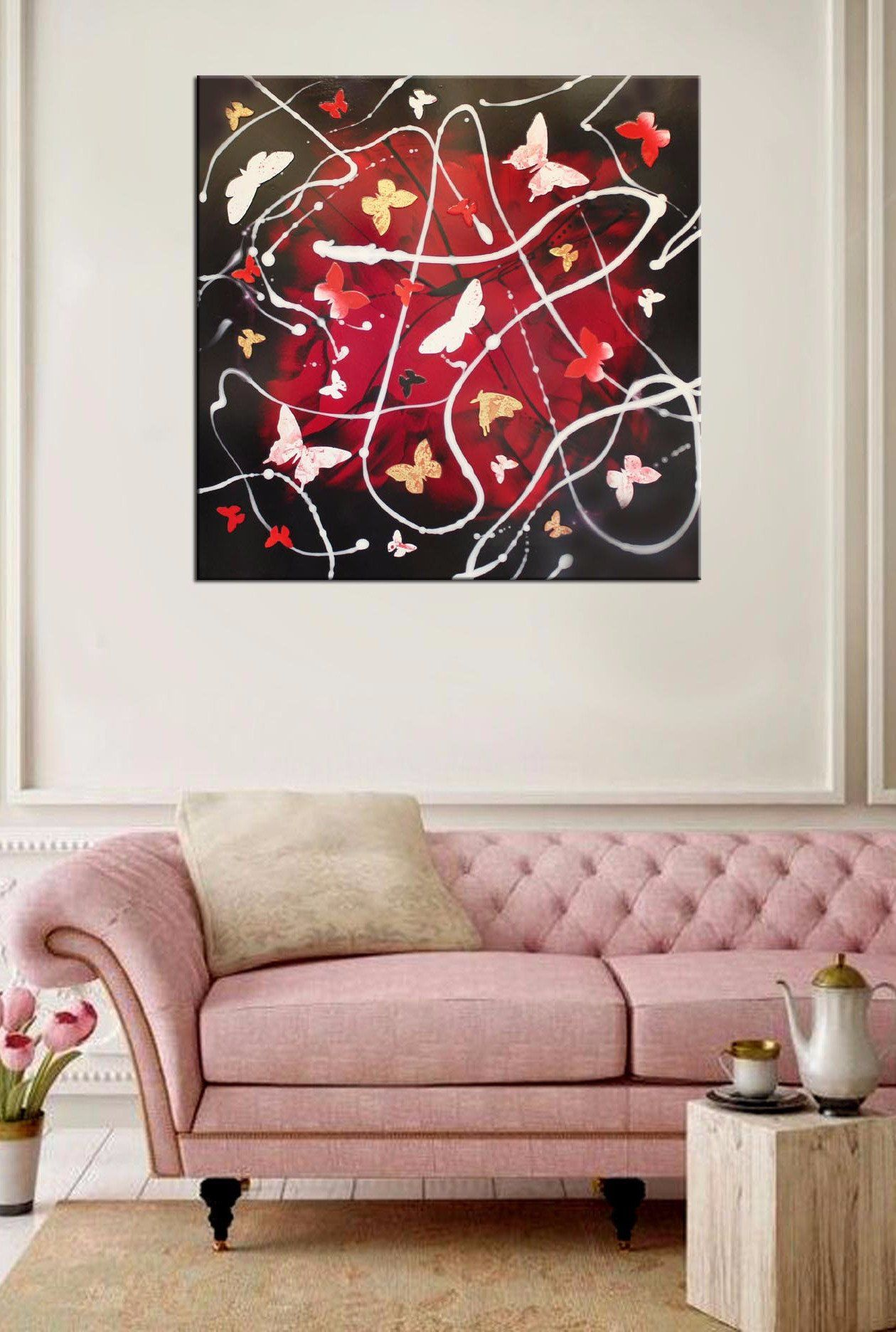 Scarlett Dream (Gloss) Butterfly Wall Artbutterfly Paintingpainting Abstractcollage