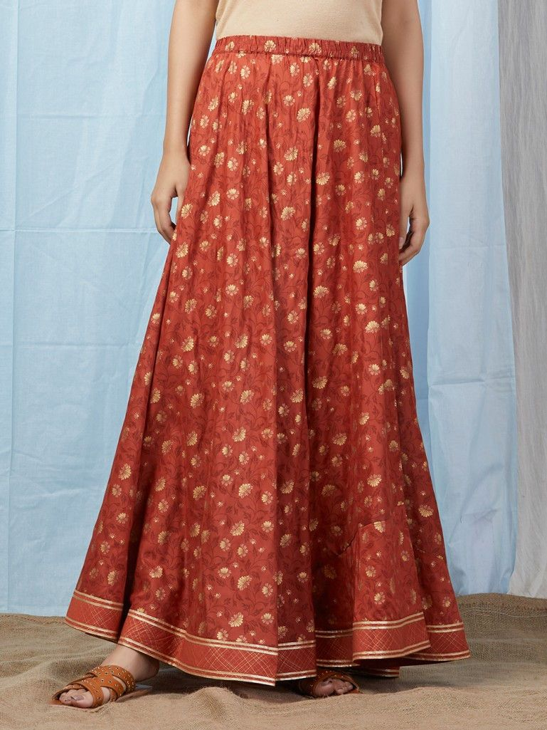 0fdeb74340d4eb Rust Printed Modal Skirt in 2019   THE LOOM LEHENGAS, SKIRTS ...