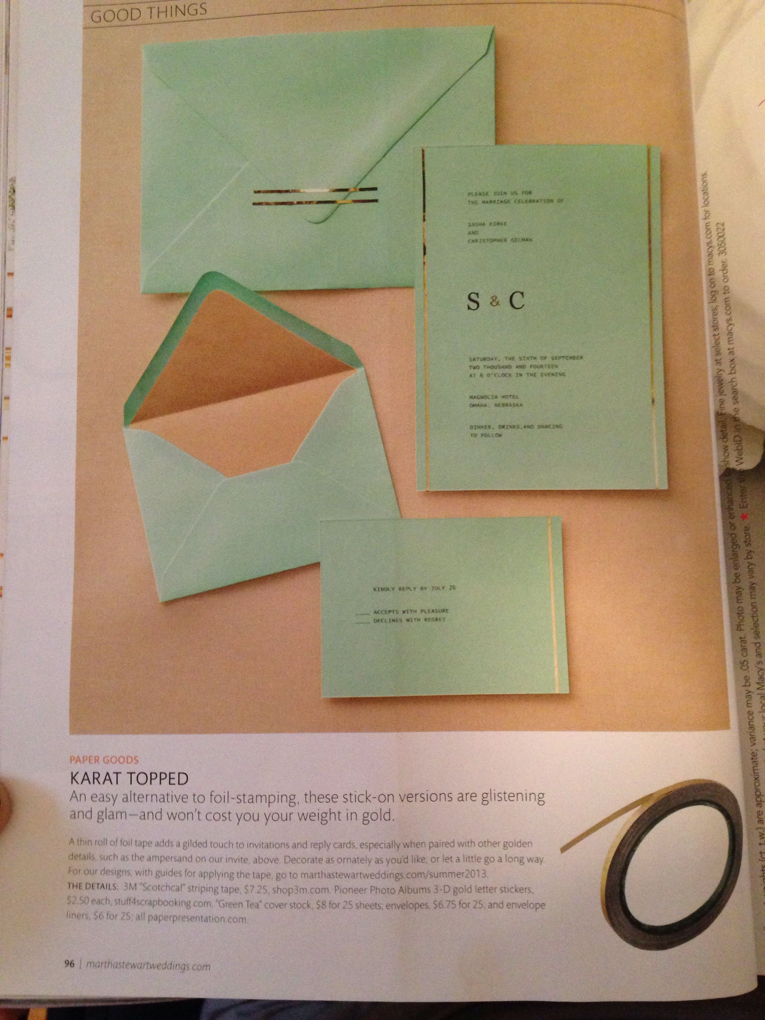 Invitations printed at home with gold tape