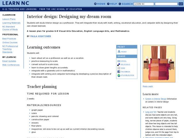 Interior Design Designing My Dream Room Lesson Plan