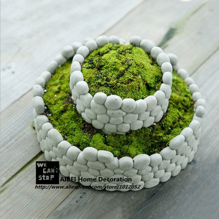 Aibei creative piedra transpirable maceta paisaje ronda for Macetas de cemento