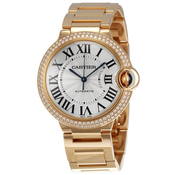 Cartier Ballon Bleu Medium 18kt Rose Gold Watch (156.985 BRL) ❤ liked on Polyvore featuring jewelry, watches, bracelets, часы, rose gold watches, blue steel jewelry, water resistant watches, cartier jewelry and rose crown