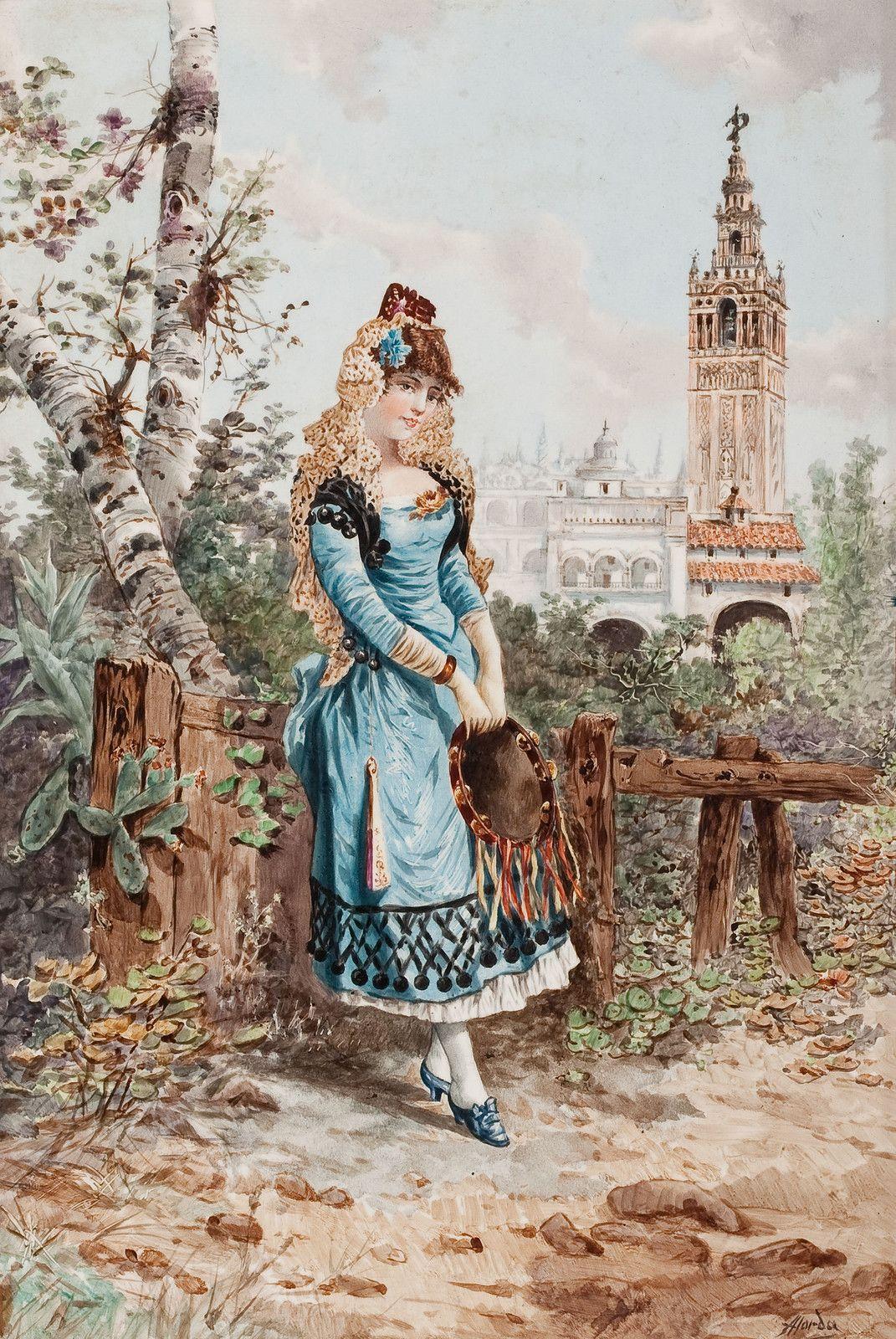 RAMON ALORDA PÉREZ (Spanish, 1848-1899) Young Spanish Woman in Cartuja Park, Seville, 1893
