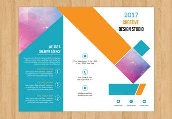 Trifold Brochure with Geometric Design Element 1