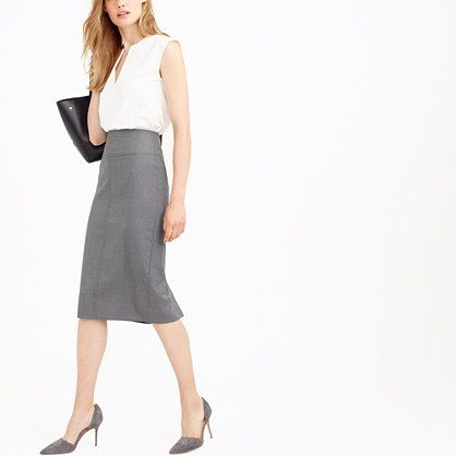 c0a31d331 J. Crew - Director pencil skirt in Super 120s wool A long, lean pencil skirt  with a flattering wide yoke and textural topstitching, constructed in our  ...