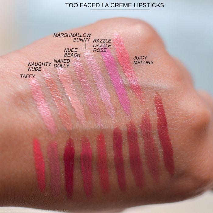 Too Faced La Creme Color Drenched Lip Cream Lipsticks Swatches Bon Bon Spice Spi... Too Faced La Cr