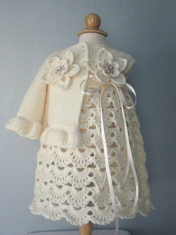 Christening Gown Crochet Baby Dress Set Crochet Baptism Baby Girl ...