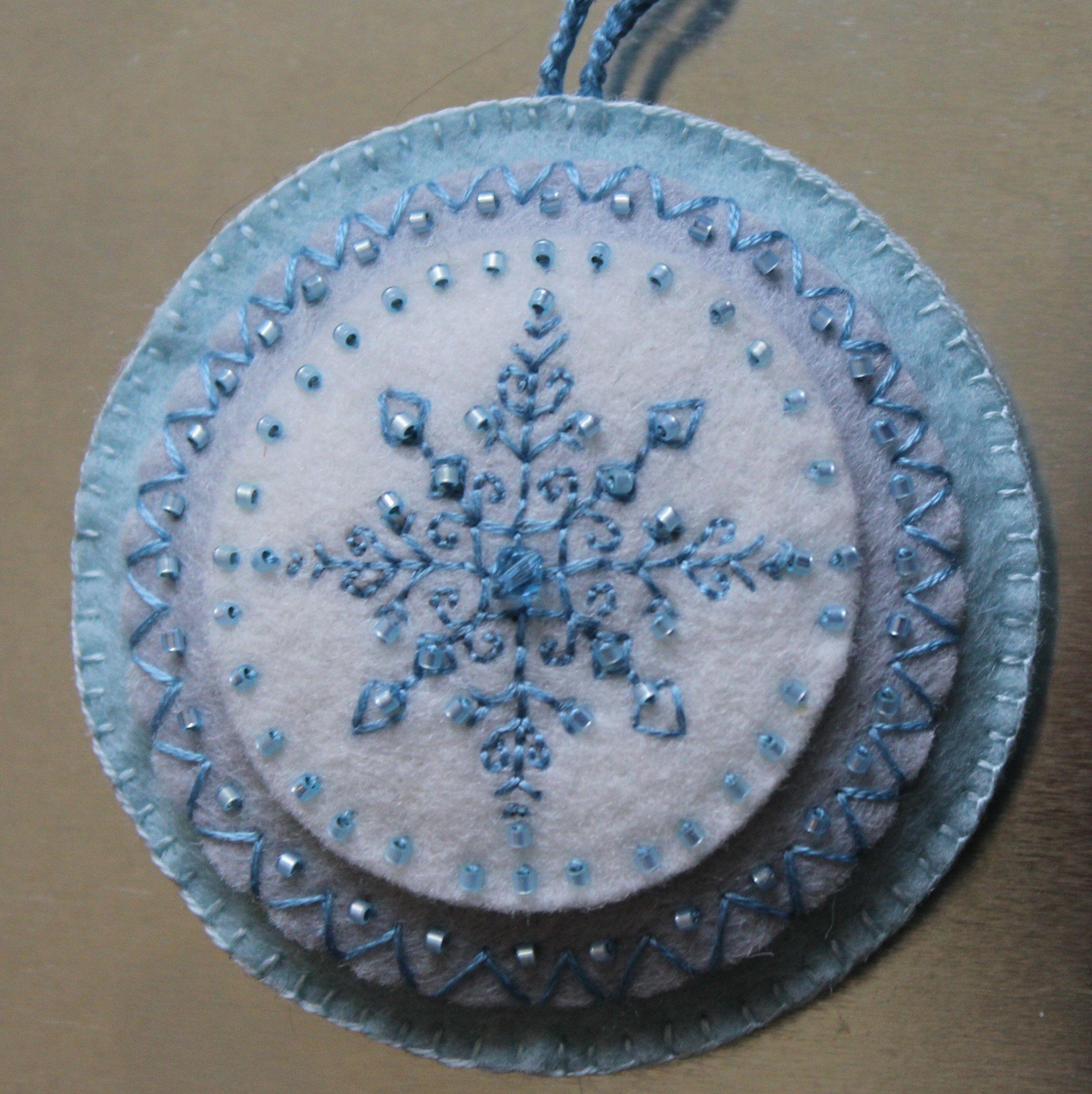 Embroidered Felt Ornament 3in Round Felt Ornament Embroidered Etsy Felt Ornaments Felt Birds Ornaments March Birth Stone