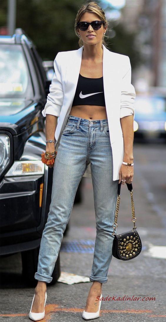 2020 Bayan Beyaz Blazer Ceket Kombinleri Mavi Yirtik Pantolon Beyaz Bluz Blazer Ceket Vizon Platform Topuklu Ayakkabi Blazer Ceket Moda Stilleri Moda