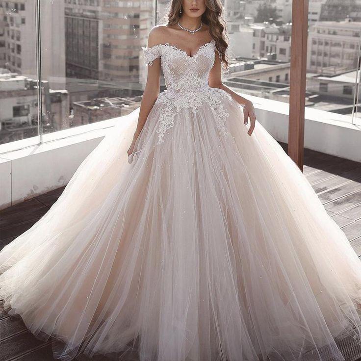 Off the shoulder wedding dresses ball gown 2020 lace appliqué beaded princess boho wedding go...
