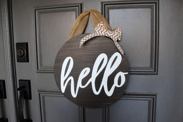 Hello Front Door Sign Front Door Decor Hello Sign Circular Front Door Decor Circle Hello Sign Door Signs Front Porch Decorating Front Door Signs