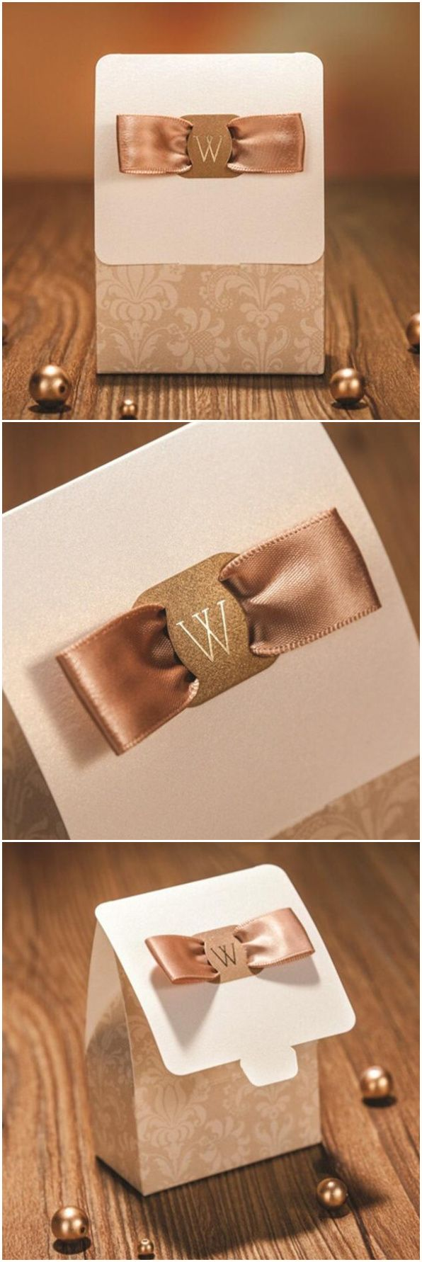 Classic Damask Luxury Gold Wedding Favor Box EWFB124