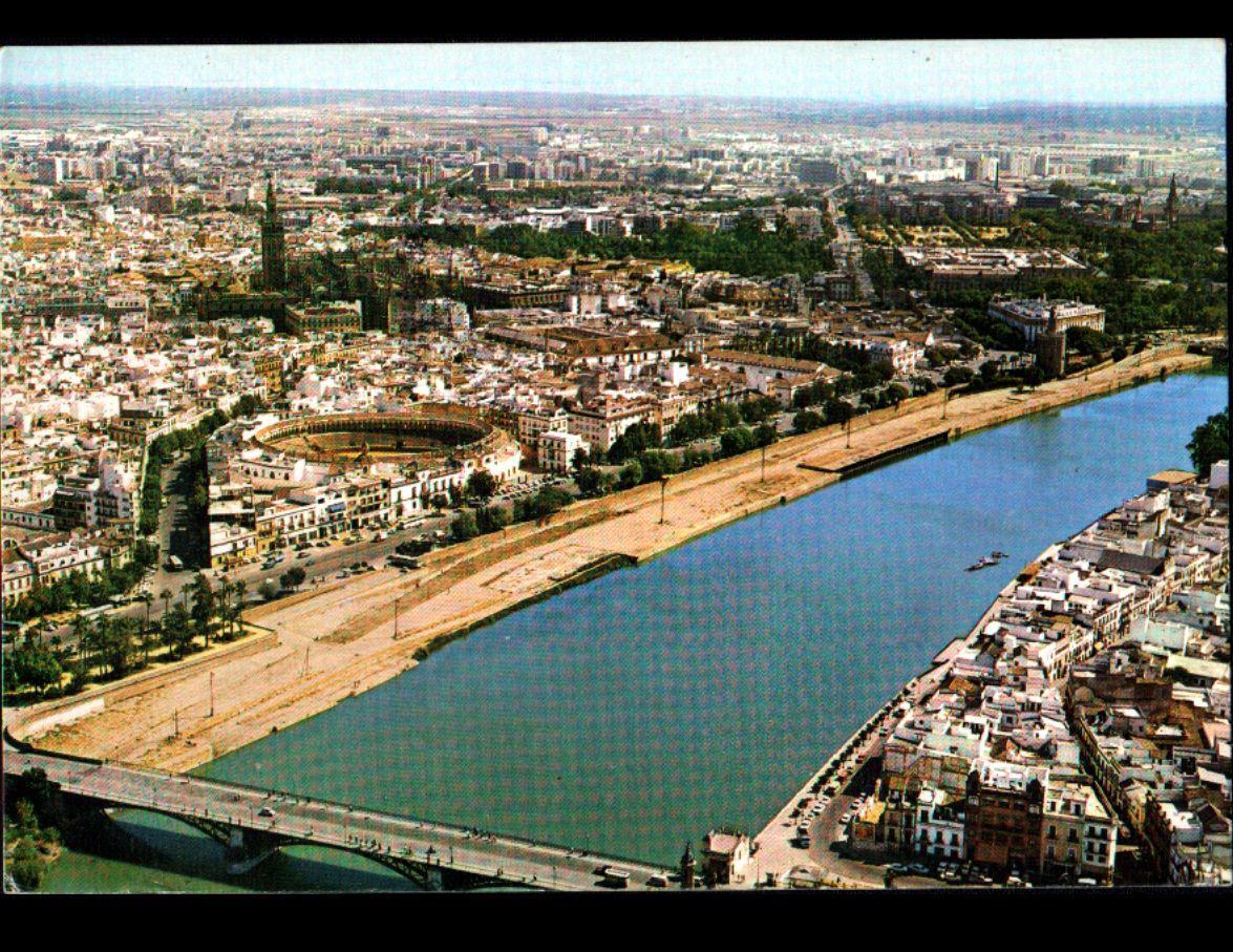SEVILLA (ESPAGNE) ARENE , PONT , VILLAS & CITE en vue aérienne 1985 | eBay