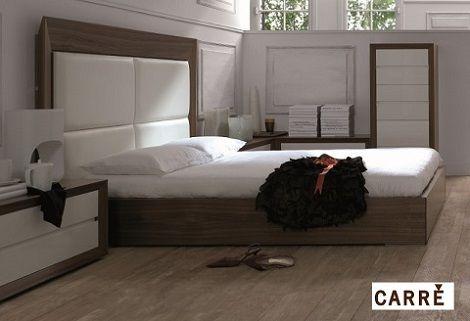 Carre elegant bed hoog hoofdbord hoogglans wit paneel met kersen lijst design stijlvol hoge - Wit bed capitonne ...