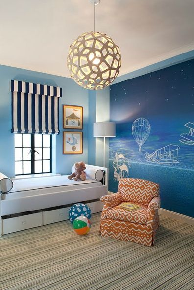 Boy Nursery With Tailored Daybed Modern Lighting And Whimsical