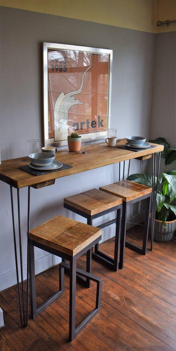 Cocina Industrial Chunky Barra De Desayuno Hermosa Y única Mesa De Cocina Hecha A Diseño Muebles De Cocina Muebles De Diseño Industrial Muebles Hierro Y Madera