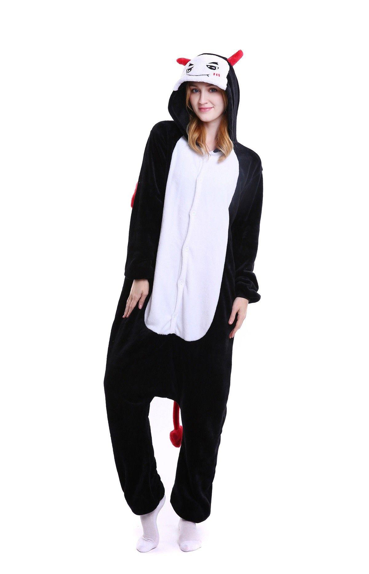 25591c46d0 kigurumi black white Demon onesies animal pajamas for adults