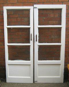 1940 S Interior Glass Ribbed Panel Doors X2 Wood Glass Door Panel Doors Ribbed Paneling