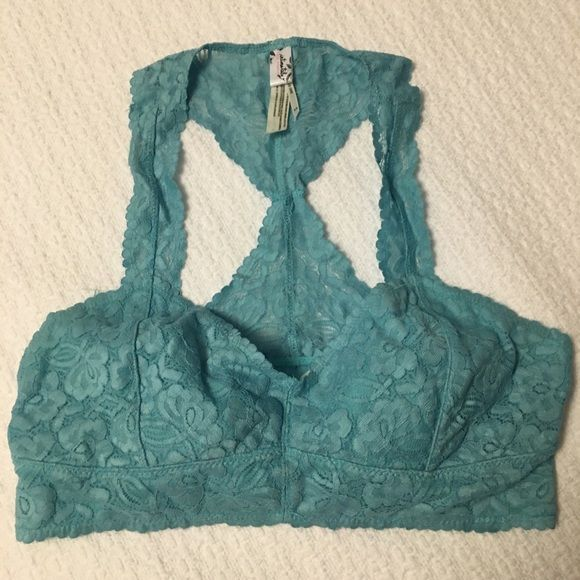 Free People Lace Bralette Gorgeous bralette by free people. Aqua. Size Medium. Worn once. Free People Intimates & Sleepwear Bras