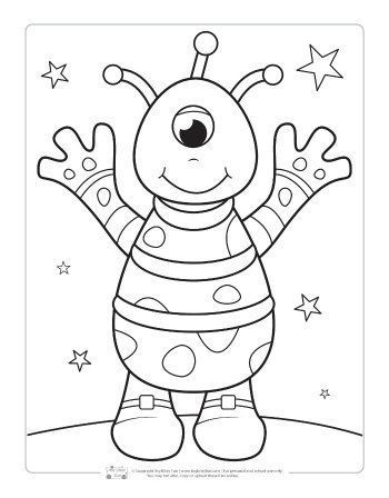 An Alien Coloring Page For Kids Space Coloring Pages Monster Coloring Pages Coloring Pages