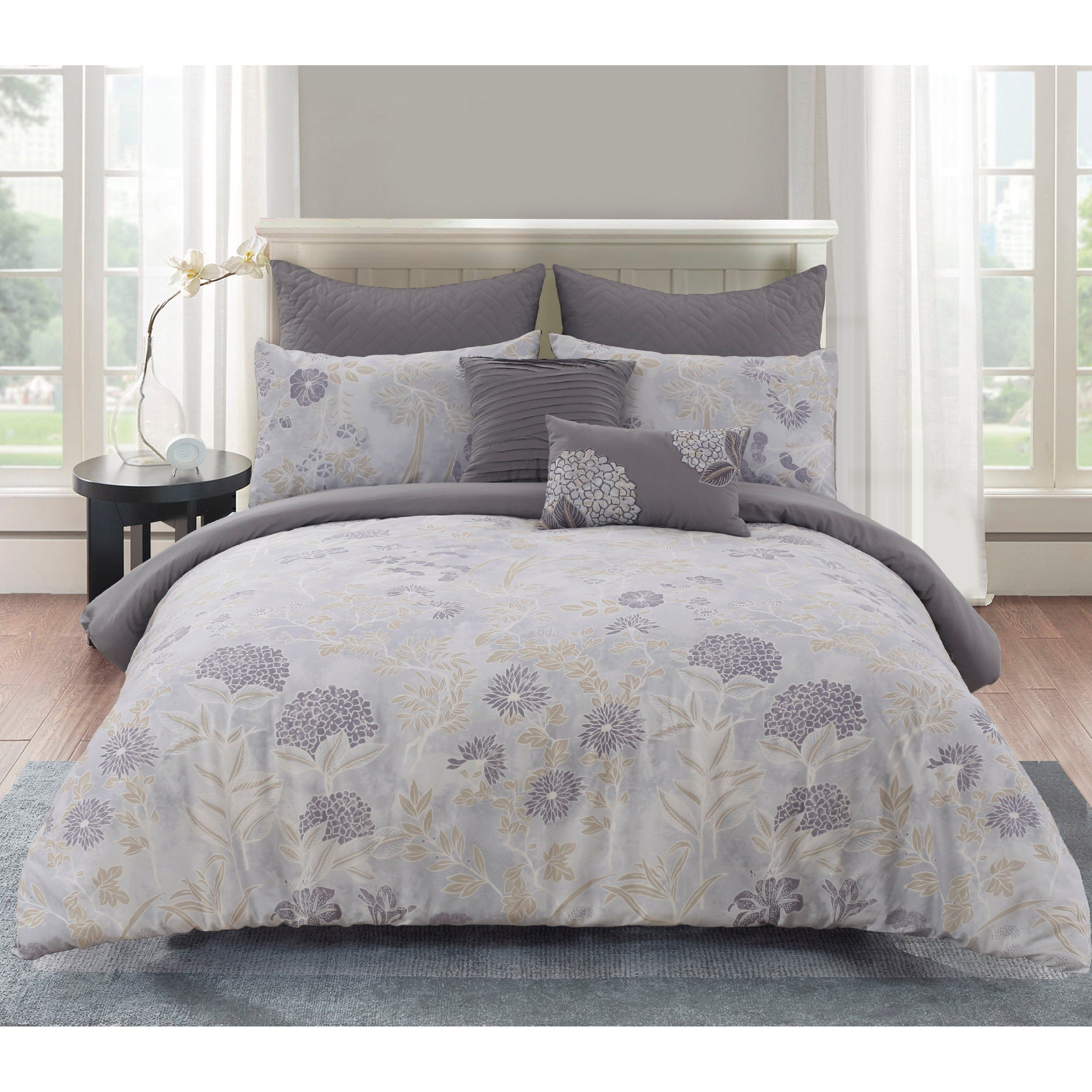 Aiko Cotton King Size Comforter Set In Purple As Is Item 15 Inch King In 2019 Comforter Sets Comforters King Size Comforter Sets