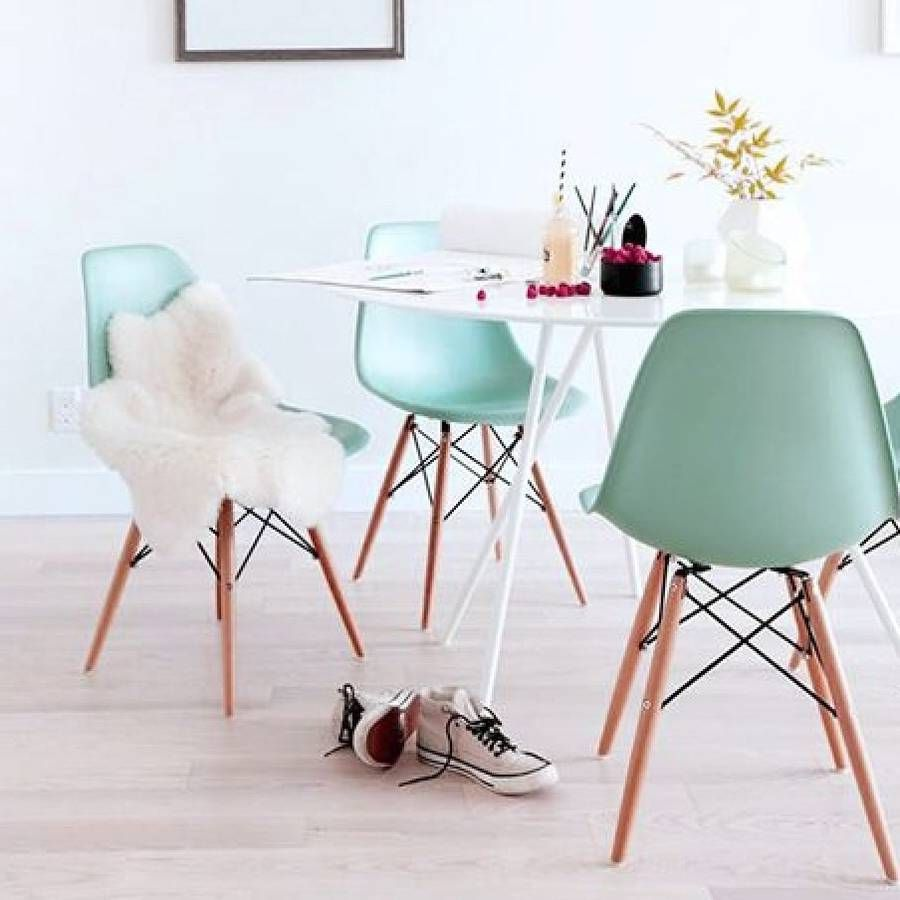 Exceptional Eames Inspired Dining Chairs In A Lovely Choice Of Soft Pastel Colours.
