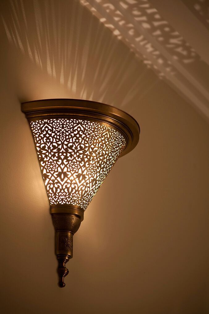 Moroccan Sconce Indoor Wall Traditionel Light Lamp Copper Mosaic Lighting De La Boutique