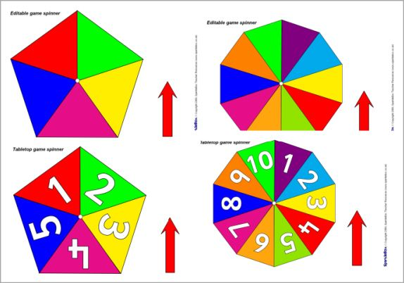 Editable Tabletop Game Spinners  Sb2735