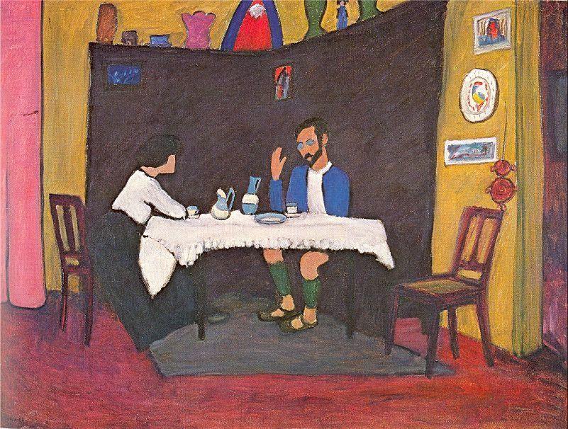 Gabriele Münter, Kandinsky and Erma Bossi at the Table in the Murnau House, 1912, oil on canvas (Stadtische Galerie im Lenbachhaus, Munich)
