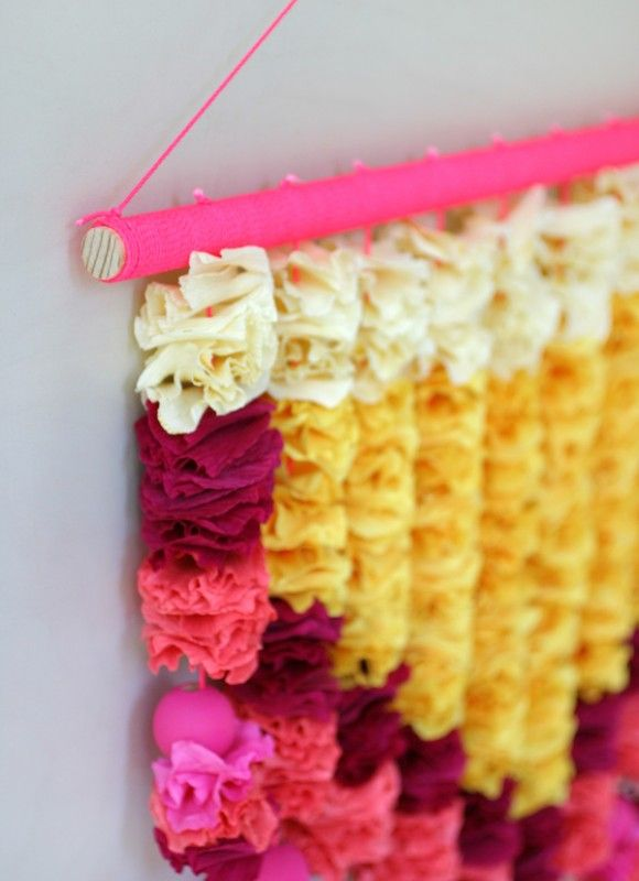 60 Easy Wall Art Ideas that Even Kids Can Make | Crepe paper, Walls ...