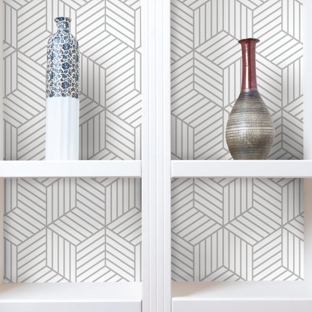 Roommates Stripped Hexagon White Grey Peel Stick Wallpaper Walmart Com Peel And Stick Wallpaper Wall Treatments Diy Home Decor