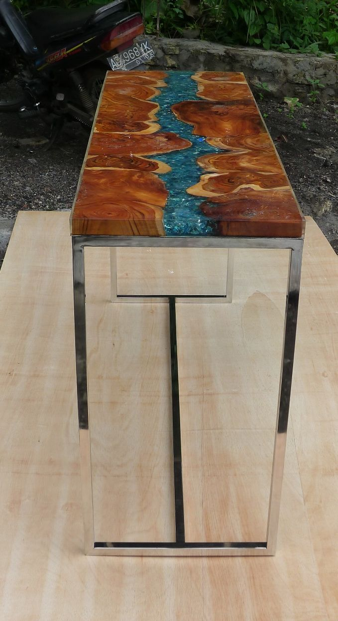 Console Teak Resin 140 X 45 X 78 Resin Furniture Wood Table Design Woodworking Inspiration