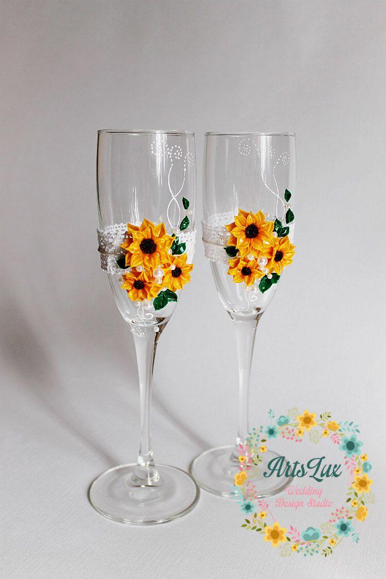 Sunflower wedding champagne glasses - Wedding floral champagne ...