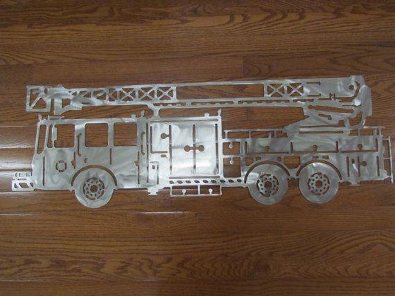Metal Fire Truck Wall Art Decor Rooms Home Trucks